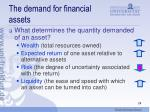 the demand for financial assets