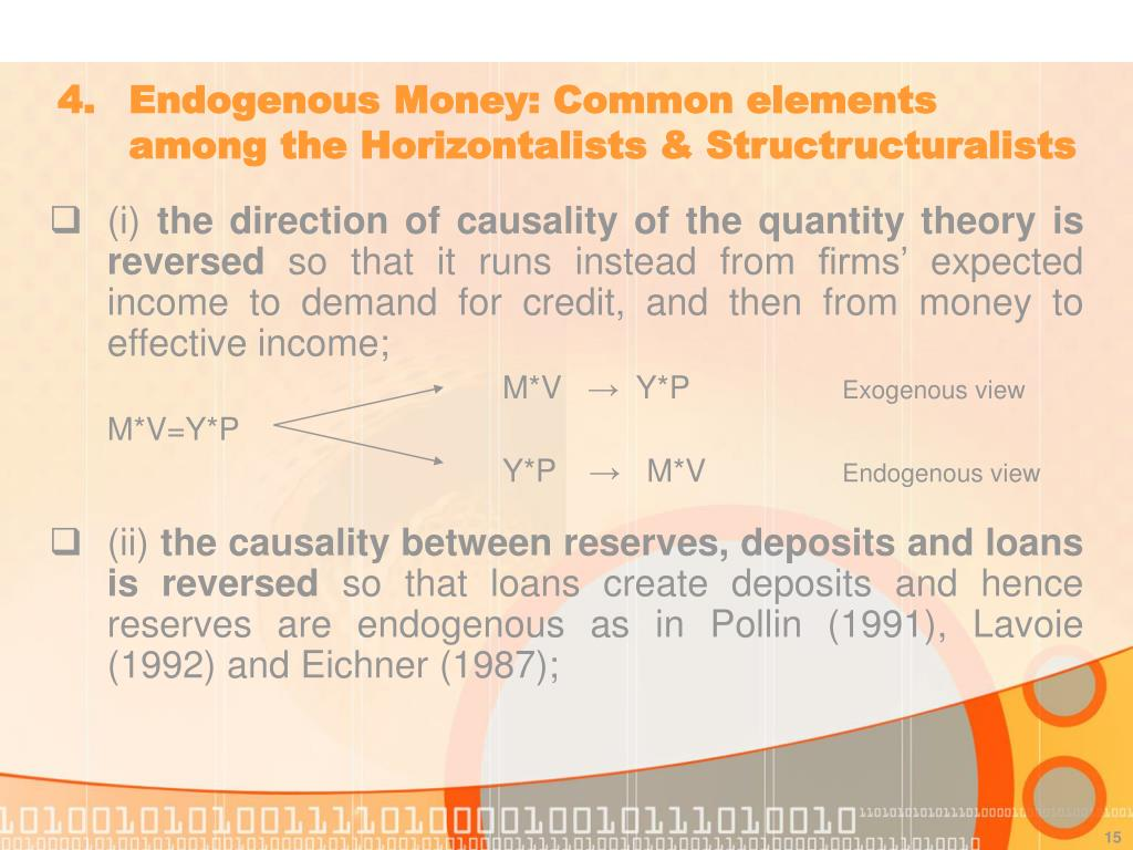 4. 	Endogenous Money: Common elements 	among the Horizontalists & Structructuralists
