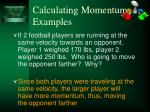 calculating momentum examples