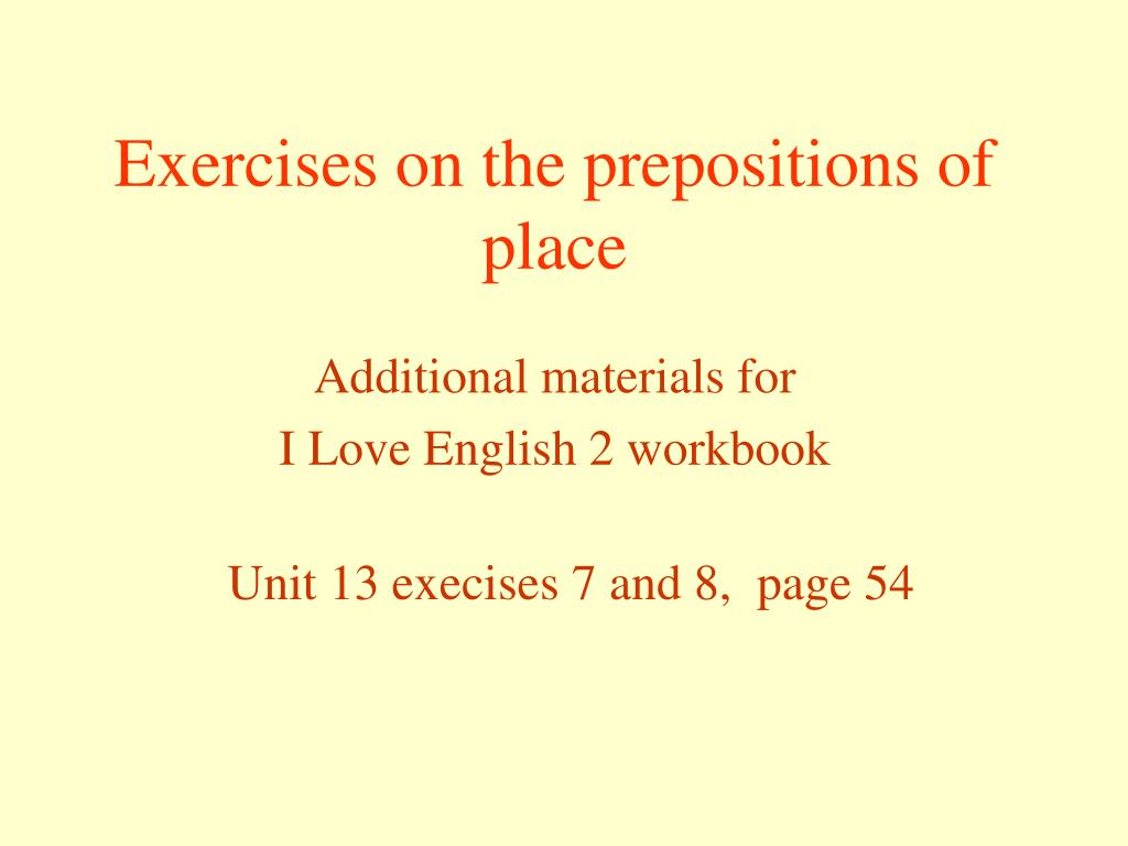 exercises on the prepositions of place l.