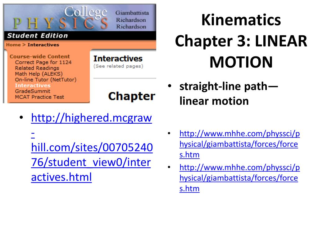 kinematics chapter 3 linear motion l.