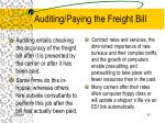 auditing paying the freight bill