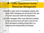 traffic department human resources management