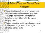 transit time and transit time reliability31