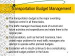 transportation budget management