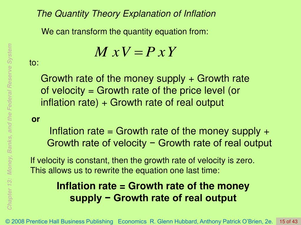 The Quantity Theory Explanation of Inflation