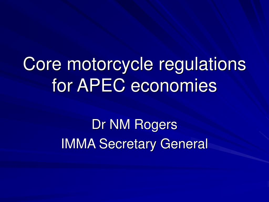 core motorcycle regulations for apec economies l.