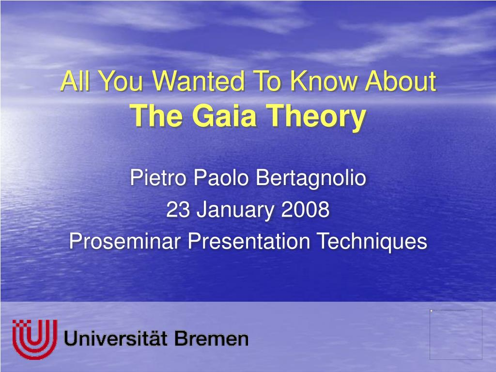 all you wanted to know about the gaia theory l.