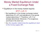 money market equilibrium under a fixed exchange rate