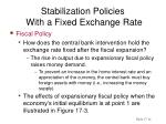stabilization policies with a fixed exchange rate13