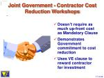 joint government contractor cost reduction workshops