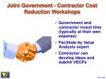 joint government contractor cost reduction workshops18