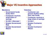 major ve incentive approaches
