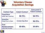 voluntary clause acquisition savings