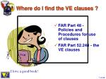 where do i find the ve clauses