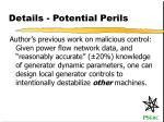 details potential perils