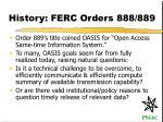 history ferc orders 888 889