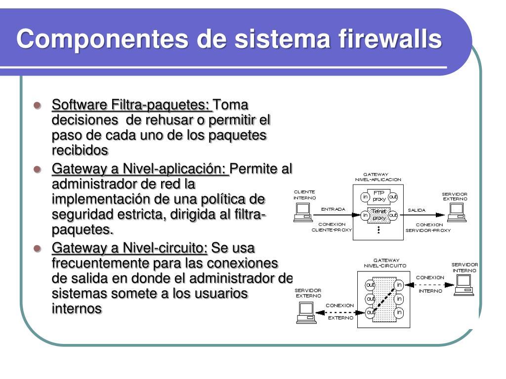 Componentes de sistema firewalls