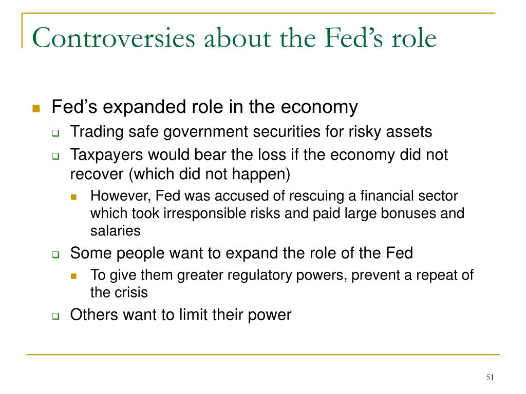 Controversies about the Fed's role