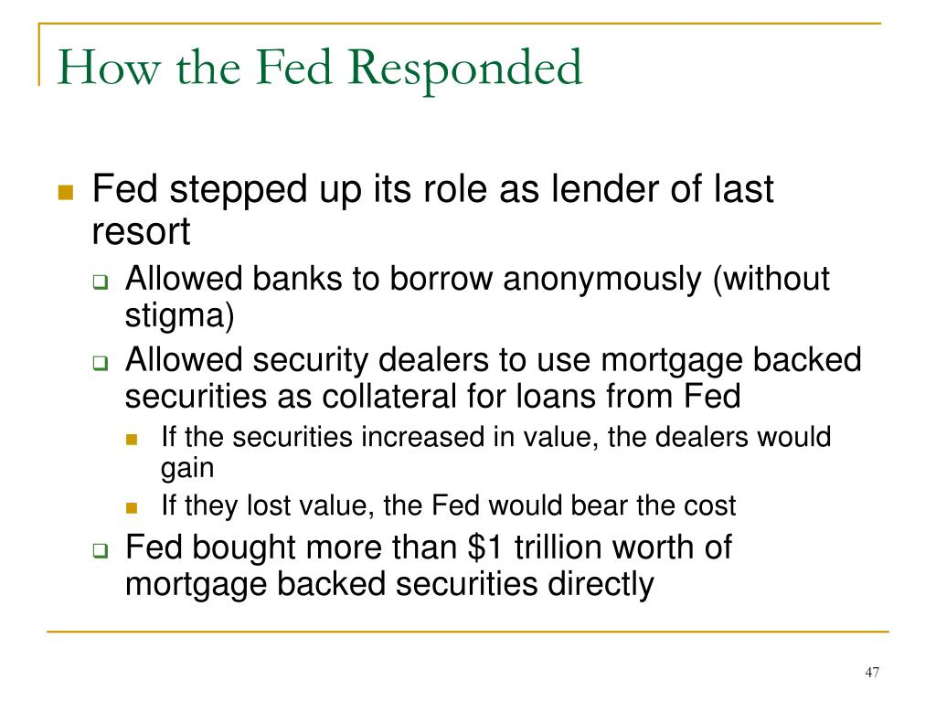 How the Fed Responded