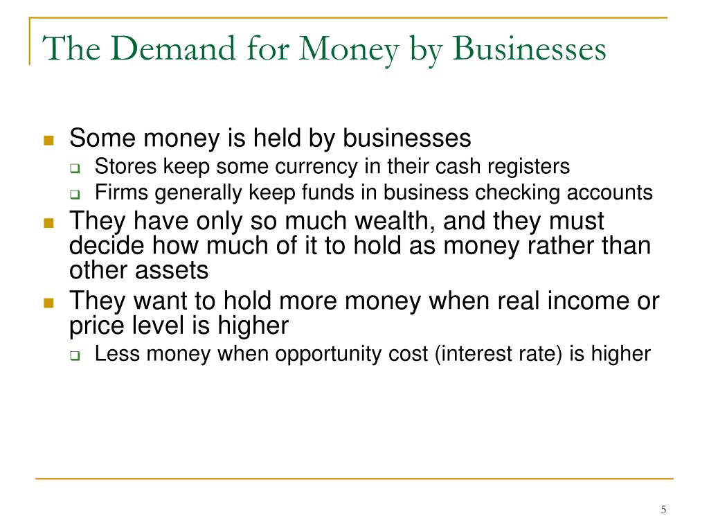 The Demand for Money by Businesses