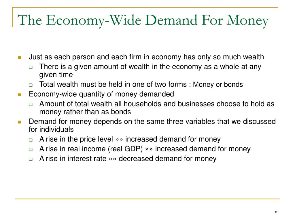 The Economy-Wide Demand For Money