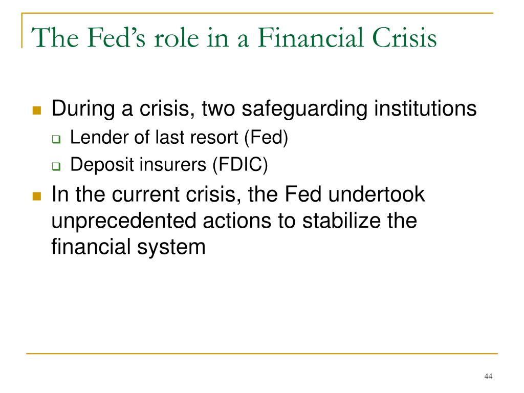 The Fed's role in a Financial Crisis