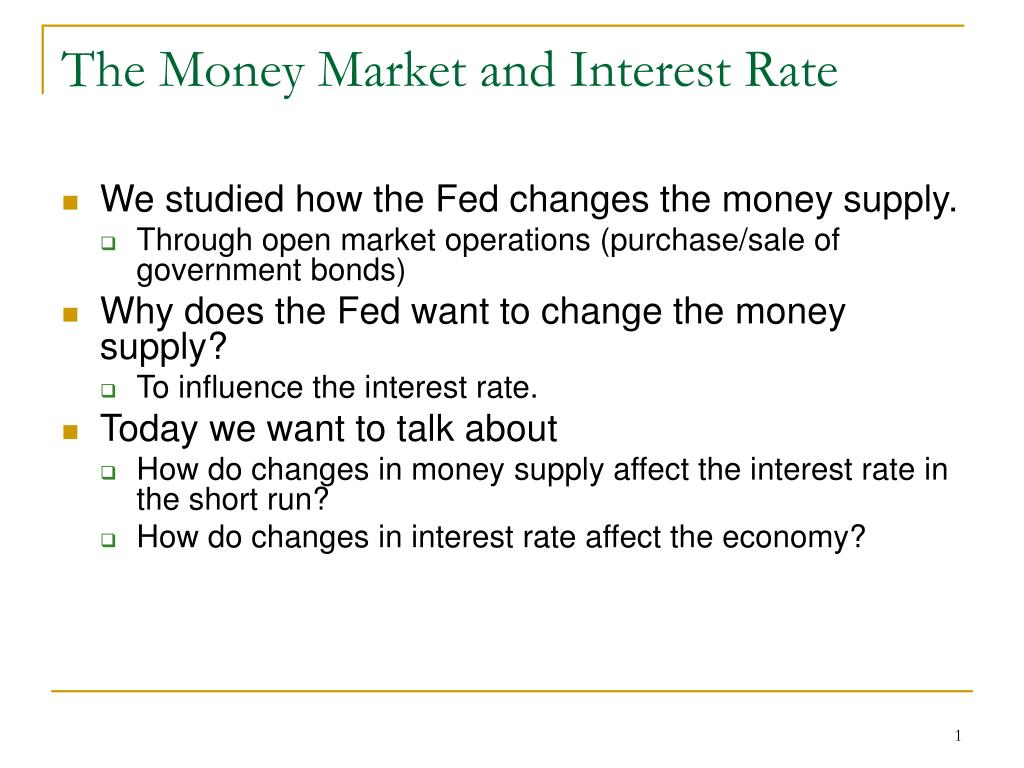 the money market and interest rate l.