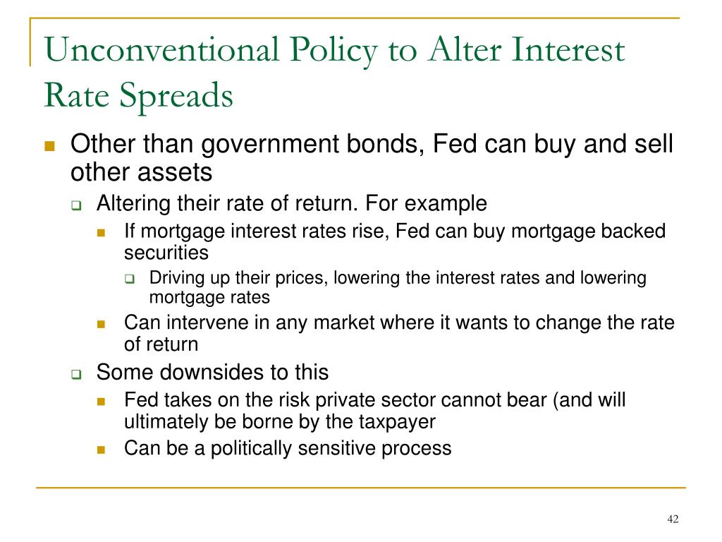 Unconventional Policy to Alter Interest Rate Spreads
