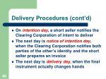 delivery procedures cont d