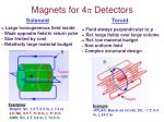 magnets for 4 detectors