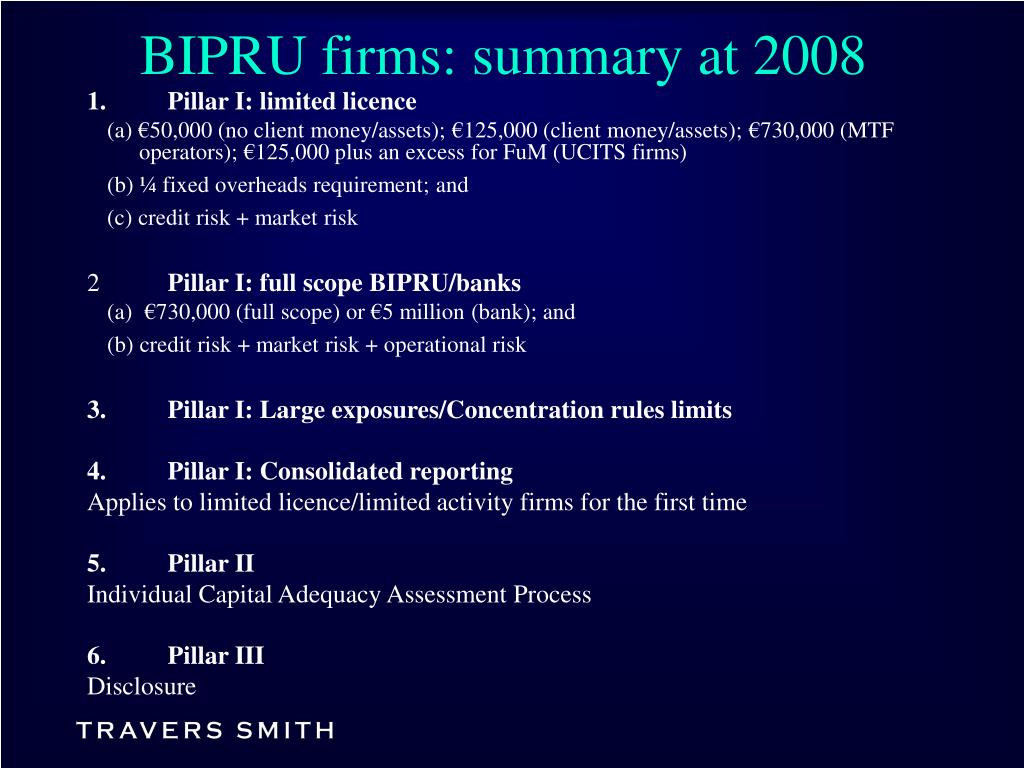 BIPRU firms: summary at 2008