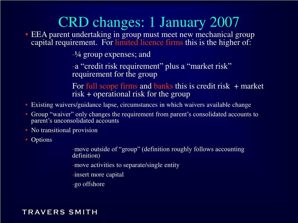 CRD changes: 1 January 2007