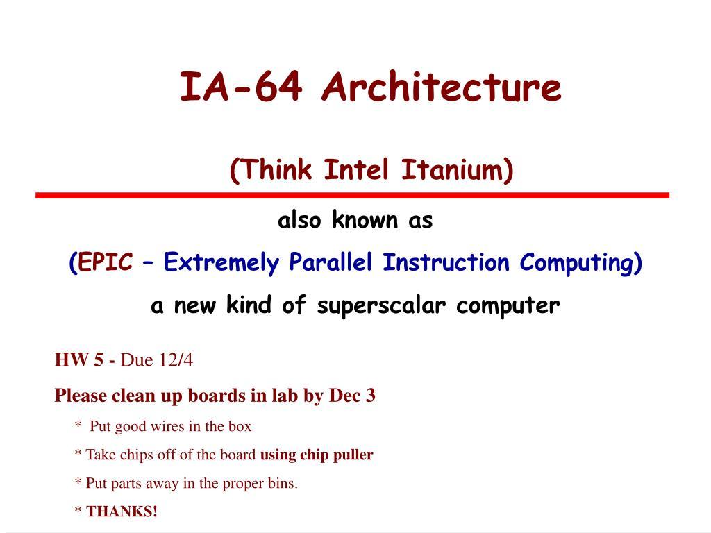ia 64 architecture think intel itanium l.