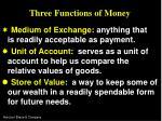three functions of money