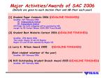 major activities awards of sac 2006 details are given to each section chair and sb chair each year