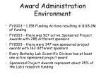 award administration environment