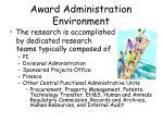 award administration environment5