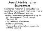award administration environment6