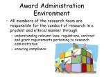 award administration environment7