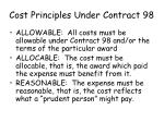 cost principles under contract 9837