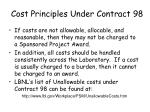 cost principles under contract 9838