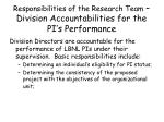 responsibilities of the research team division accountabilities for the pi s performance