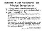 responsibilities of the research team principal investigator