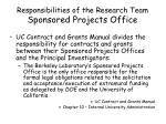 responsibilities of the research team sponsored projects office