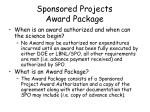 sponsored projects award package