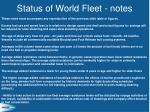 status of world fleet notes