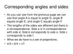 corresponding angles and sides