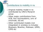 contributions to mobility in ns