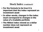 stock index continued